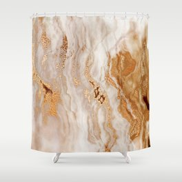 Glamorous Gold Glitter Vein Marble With Copper Sparkles Shower Curtain