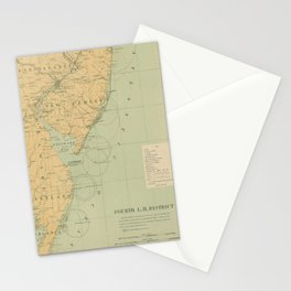 Vintage NJ, MD & Delaware Bay Lighthouse Map (1897) Stationery Cards