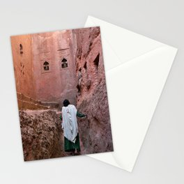 Ethiopia Lalibela christian orthodox christmas pilgrim woman gazing up red wall church Stationery Cards