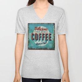 Vintage Style Coffee Sign Unisex V-Neck