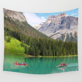 Boats on Emerald Lake Wall Tapestry