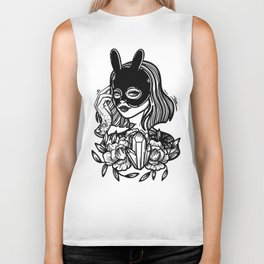 Rabbit. Girl with tattoo and flowers Biker Tank