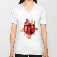pi V-neck T-shirts featuring Geometric Pi  by Vi Sion