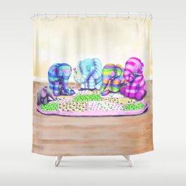 Elephant's Brunch Shower Curtain
