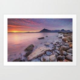 II - Spectacular sunset at the Elgol beach, Isle of Skye, Scotland Art Print