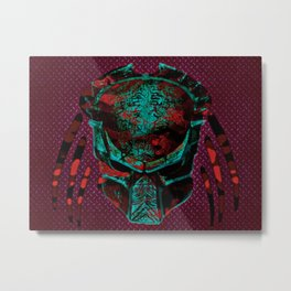 Soldier Predator Red Teal Metal Print