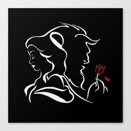 Beauty And Beast BW Canvas Print