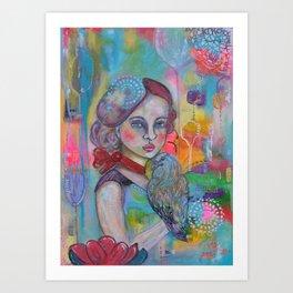 Girl with bird Art Print