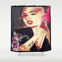 iggy azalea Shower Curtains featuring Iggy Azalea by The Expression Studio