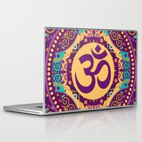 ohm Laptop & iPad Skins featuring Ohm Decorative Print in Purple Gold and Teal by MY  HOME