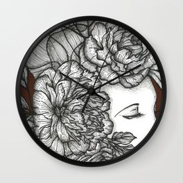 The Floral Lady| Lady with Flowers (Portrait) Wall Clock