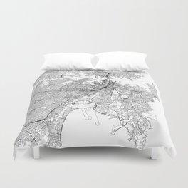 Sydney White Map Duvet Cover