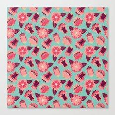 flat flowers - pattern Canvas Print