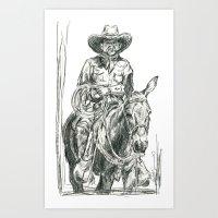 Mule Wrangler Art Print