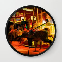 Midnight Carousel Ride Wall Clock