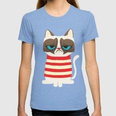Grumpy meme cat  Tri-Blue Womens Fitted Tee MEDIUM