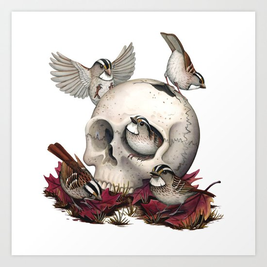 White-throated Sparrows Forage Amongst Human Remains Art Print