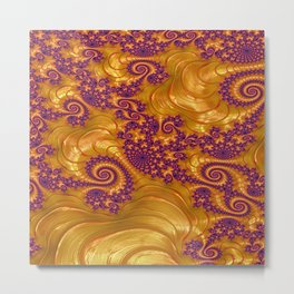 Fractal in Golds and Purples Metal Print