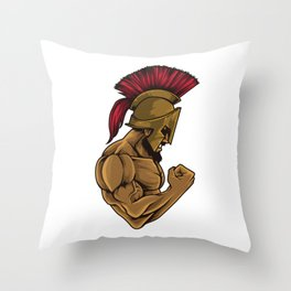 Spartan At The Gym | Training Fitness Muscles Power Throw Pillow