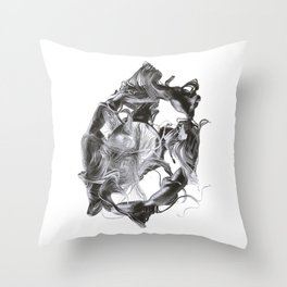 Chaotic Lines #1_b&w Throw Pillow