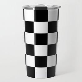 Checkered - White and Black Travel Mug