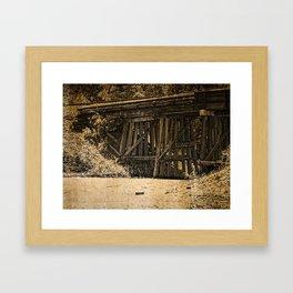 Rustic Wooden Railroad Bridge, Grunge Framed Art Print