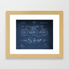 1898 E.M. Hunt Tandem Patent Art Print - Vintage Bicycle Patent  - Bike Patent Framed Art Print