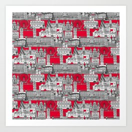 London toile red Art Print