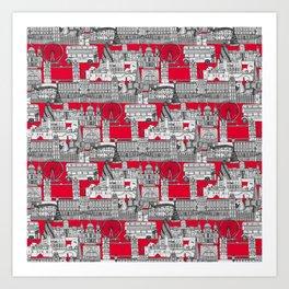 London toile red Art Print