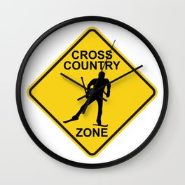 Cross Country Skiing Zone Road Sign Wall Clock