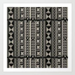 Boho Mud cloth (Black and White) Art Print