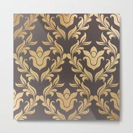 Gold swirls damask #6 Metal Print