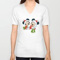 minnie mouse V-neck T-shirts featuring Christmas Mickey Mouse and Minnie Mouse by Yuliya L