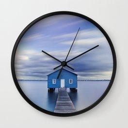 Blue Boat House Wall Clock