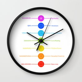 Chakra symbols with respective colors and what they stand for- Spiritual gifts Wall Clock