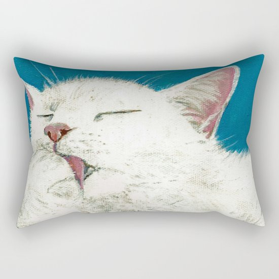 White Cat Grooming Rectangular Pillow