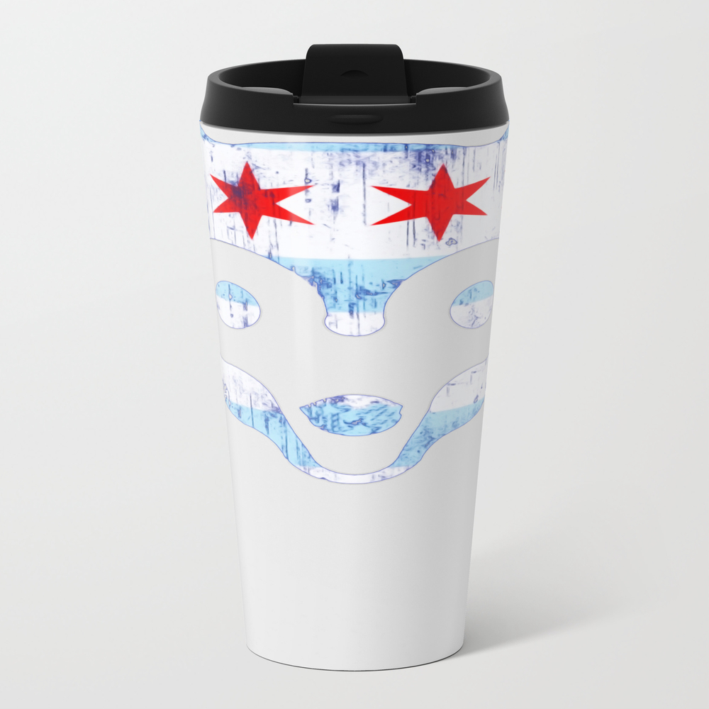 Chicago Flag Cubs Face Metal Travel Mug by Min_art MTM8925396