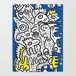 Yellow Blue Graffiti Art Doodle Black and White  Poster