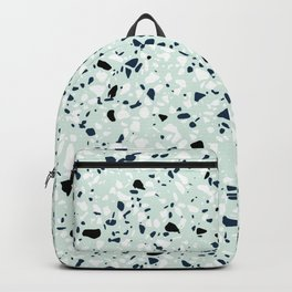'Speckle Party' Navy Mint Black White Dots Speckle Terrazzo Pattern Backpack