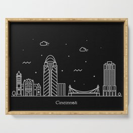 Brisbane Minimal Nightscape / Skyline Drawing Serving Tray