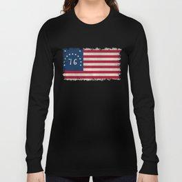American Bennington flag - Vintage Stone Textured Long Sleeve T-shirt