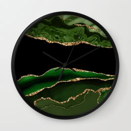 Emerald Marble Glamour Landscapes Wall Clock