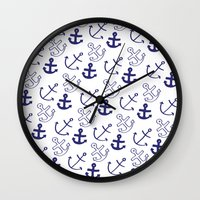 anchors Wall Clocks featuring Anchors by Sarah Liddell