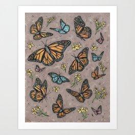 monarch butterflies. Art Print