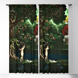 Satan Tempting Even in the Garden of Eden Landscape Painting by Jeanpaul Ferro Blackout Curtain