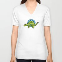 dinosaur V-neck T-shirts featuring Dinosaur by Peggy Cline