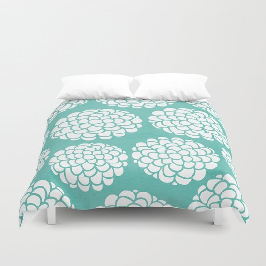 Turquoise Blossoms Duvet Cover