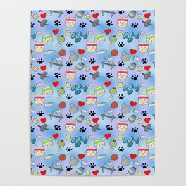 Cat Fitness Repeating Pattern Poster
