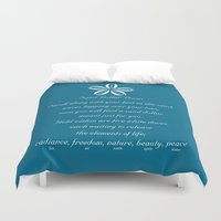 poem Duvet Covers featuring Sand Dollar Doves Poem and Talisman by Sand Dollar Doves