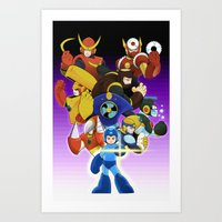 megaman Art Prints featuring Megaman 2 by Patrick Towers